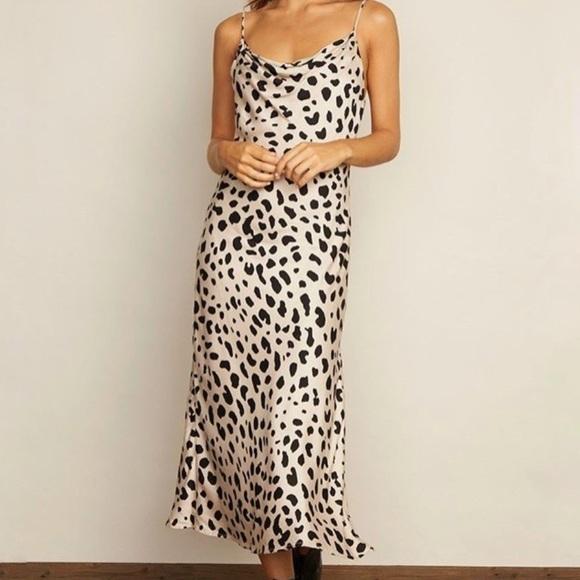 Spotted Midi Slip Dress